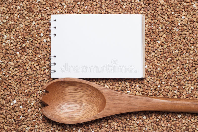 Download Notebook For Recipe Over Buckwheat Background Stock Photo - Image: 28081126