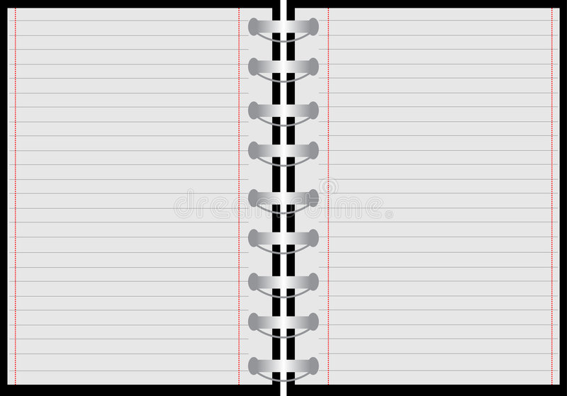 Notebook with red lines. Illustration of a notebook with red lines royalty free illustration