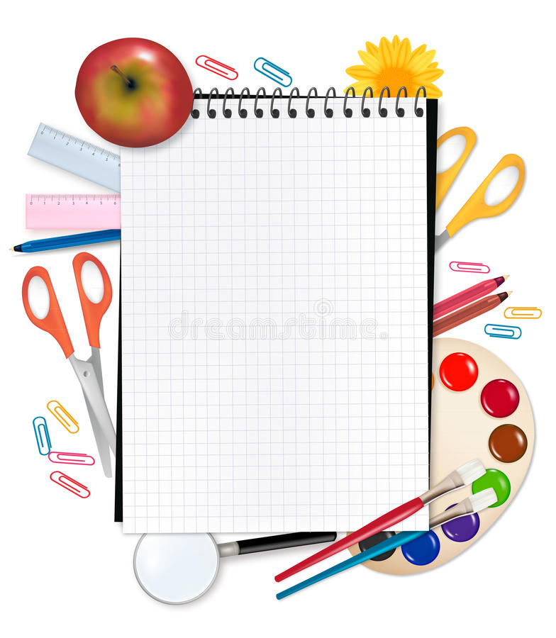 Notebook with school supplies. vector illustration