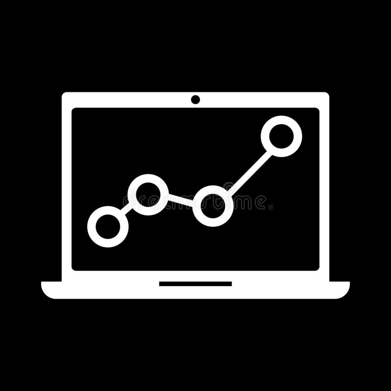 The notebook screen displays information for the web, icons and symbols on a black background. Flat vector illustration