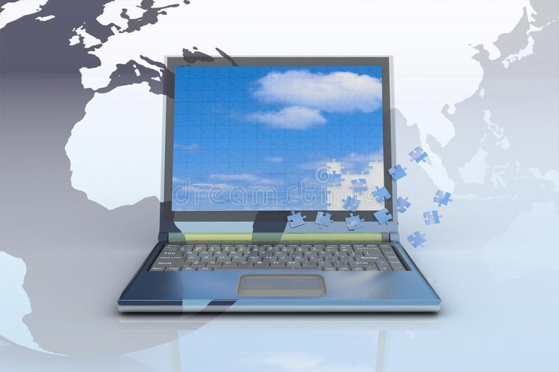 Download Notebook With A  Screen From Puzzle Royalty Free Stock Images - Image: 25751909