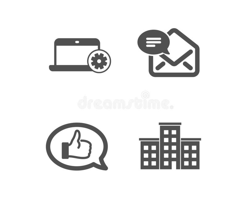 Notebook service, Feedback and New mail icons. Company sign. Computer repair, Speech bubble, Received e-mail. Vector. Set of Notebook service, Feedback and New royalty free illustration