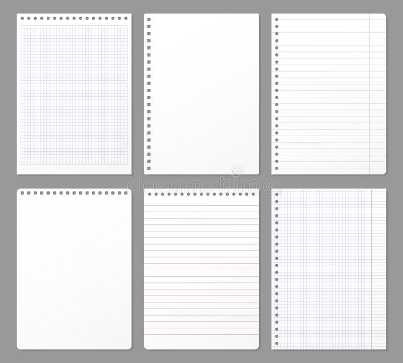 Notebook sheet. Sheets torn from notebook, paper note lined page and copybook notepad padded paper vector illustration vector illustration