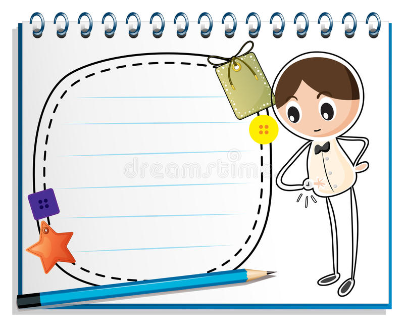 A notebook with a sketch of a boy watching his watch royalty free illustration