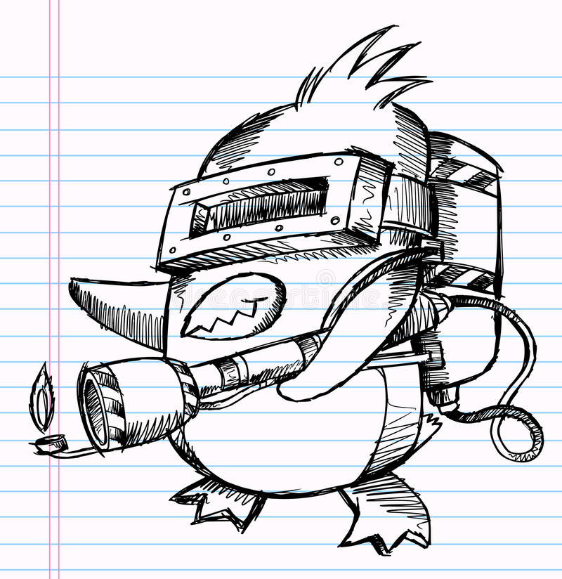 Notebook Sketch Doodle Penguin Commando