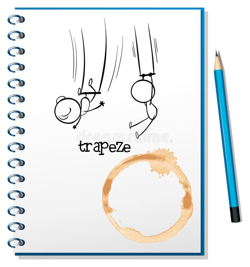 Download A Notebook With A Sketch Of People Hanging At The Trapeze Stock Vector - Image: 32733010