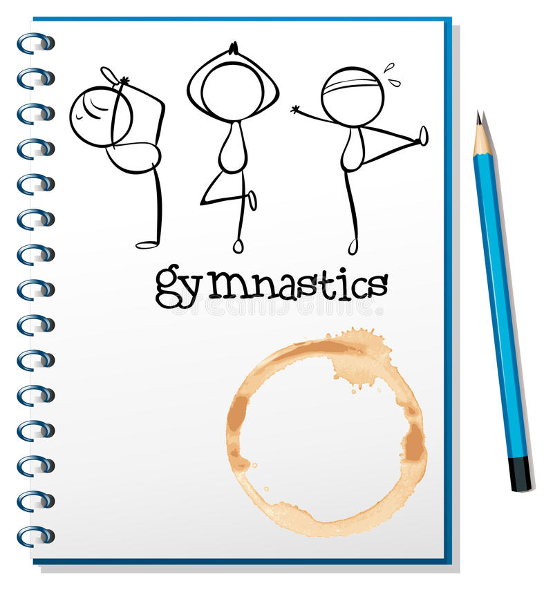 A notebook with a sketch of the three gymnasts stock illustration