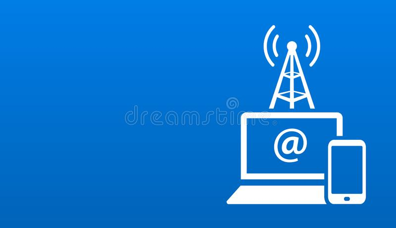 Notebook and smartphone access internet connection vector illustration layout stock illustration