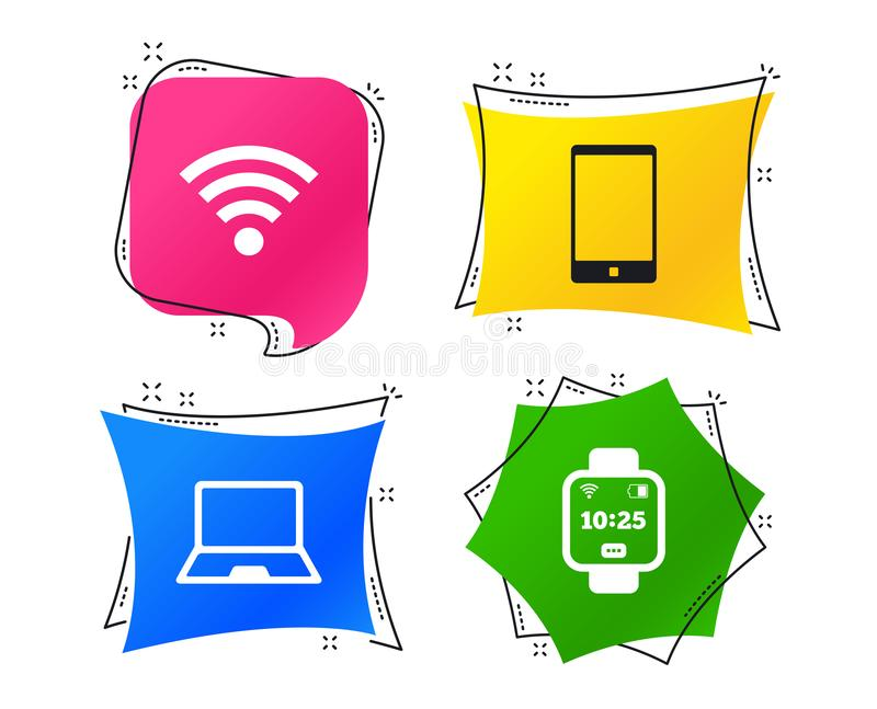 Notebook and smartphone icon. Smart watch symbol. Vector stock illustration