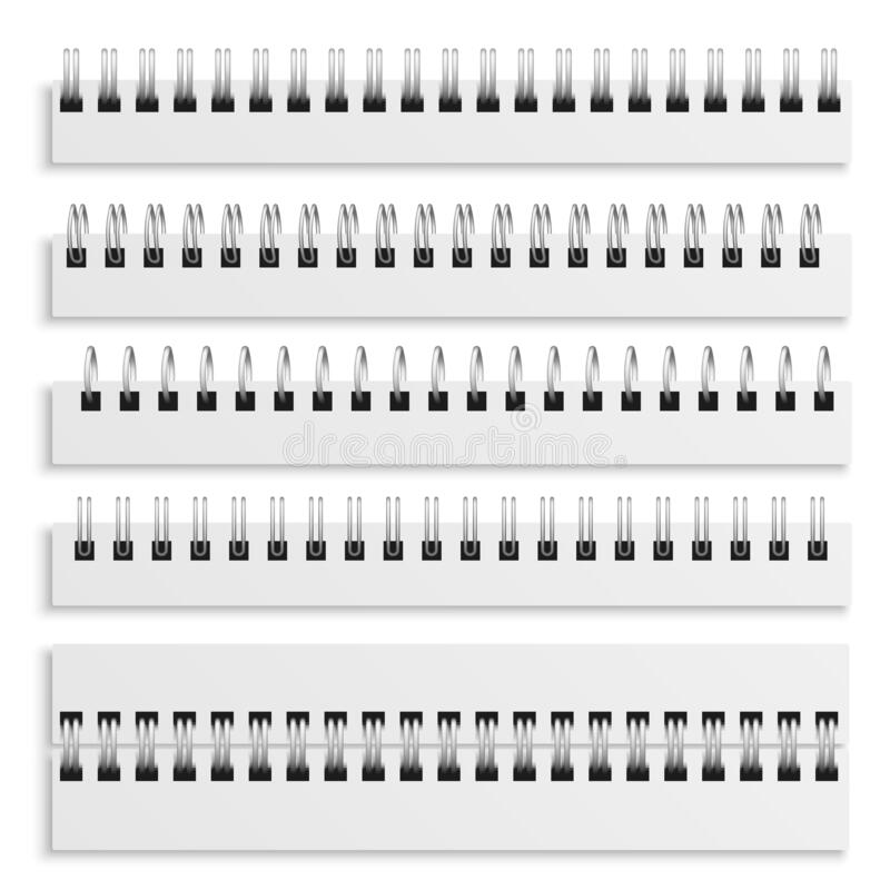 Free Notebook Spiral Binding Sheets. Iron Wired Spirals Set, Diary Calendar Or Textbook Metal Ring Wire, 3d Vector Isolated Royalty Free Stock Images - 195269469