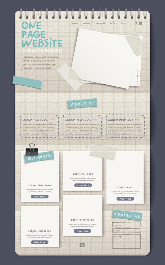 Notebook style one page website design template vector illustration