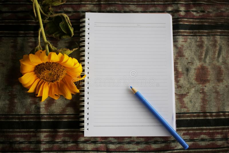 Notebook, sunflower and pen on classic fabric background. Office flat lay concept. Copy space for text and design. Paper, pencil, blank, white, isolated stock photo