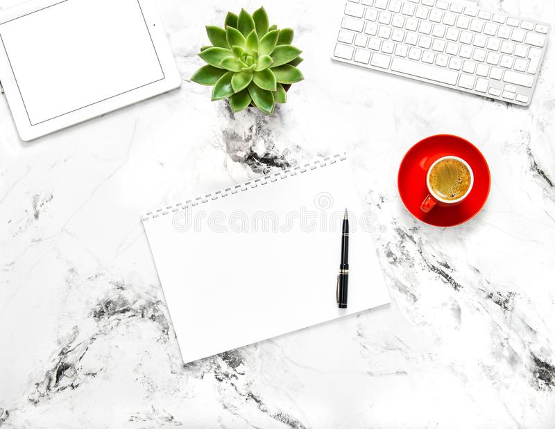 Notebook tablet pc coffee succulent Working desk Flat lay stock image