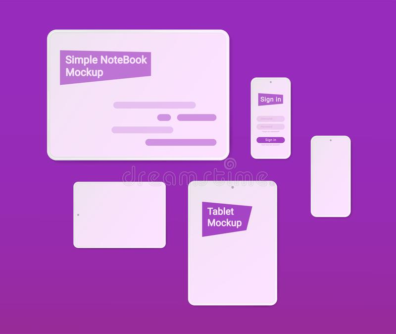 Simple Mockups. NoteBook, Tablet, Phone. vector illustration