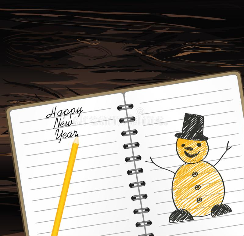 Notebook template with christmas snowman and ball and pencil. Vector on wooden background. Greeting card on holiday. A realistic. Notepad. Office stationery vector illustration