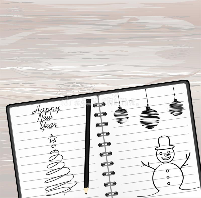 Notebook template with christmas snowman and ball and pencil. Vector on wooden background. Greeting card on holiday. A realistic. Notepad. Office stationery royalty free illustration