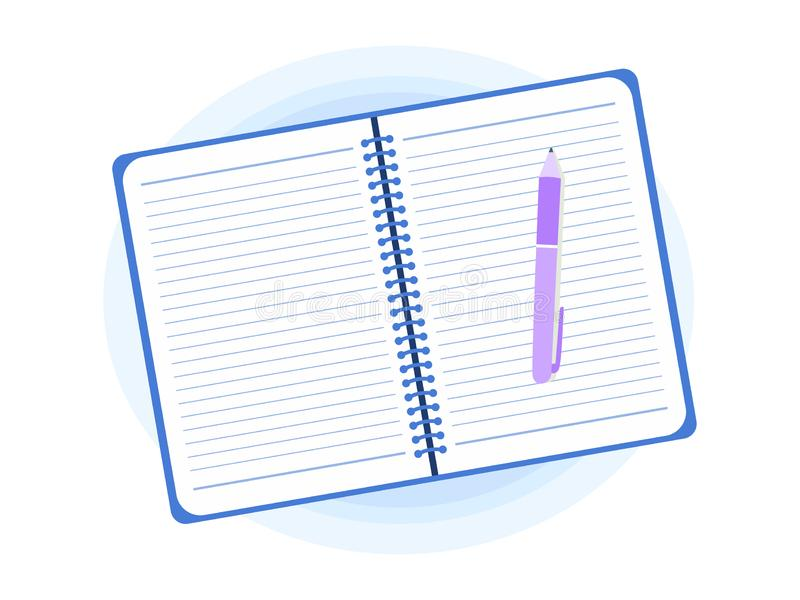 Open Notepad With Pen Flat Style Vector Illustration vector illustration