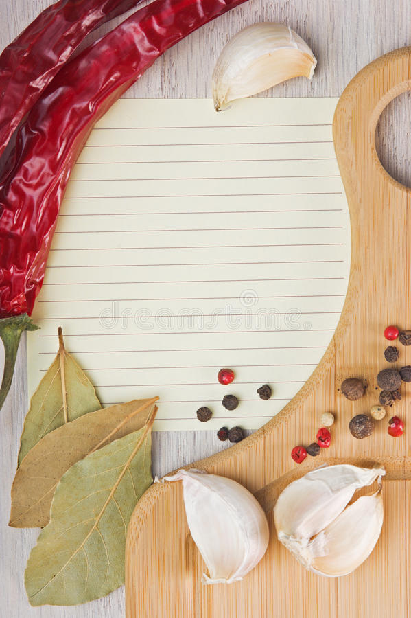 Notebook To Write Recipes With Spices Stock Images