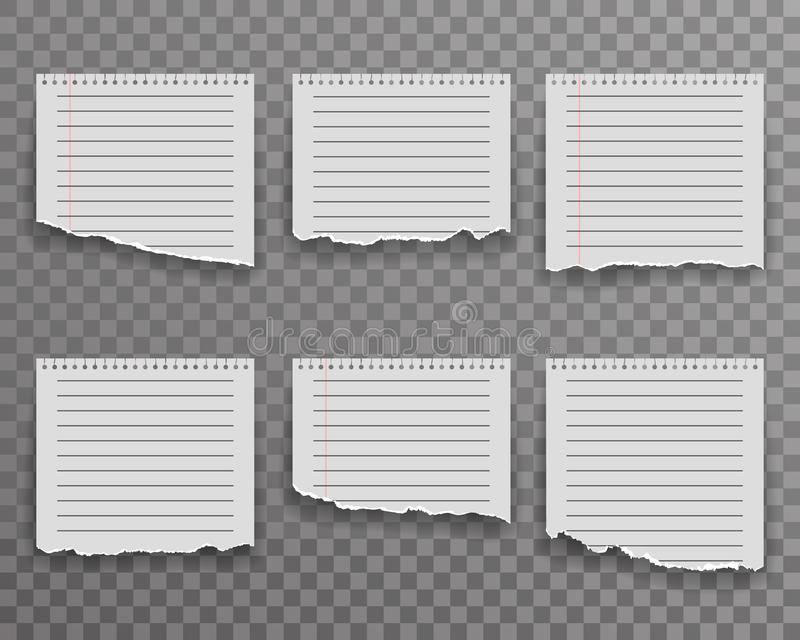 Notebook torn paper edge notes sheet ripped realistic decoration transparent background vector illustration stock illustration