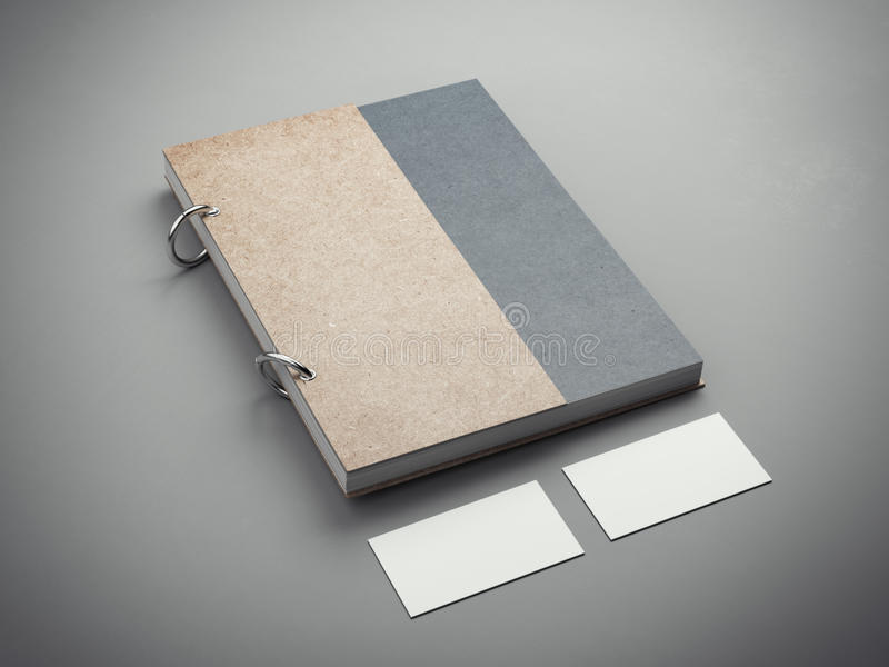 Notebook with two business cards. 3d rendering royalty free illustration