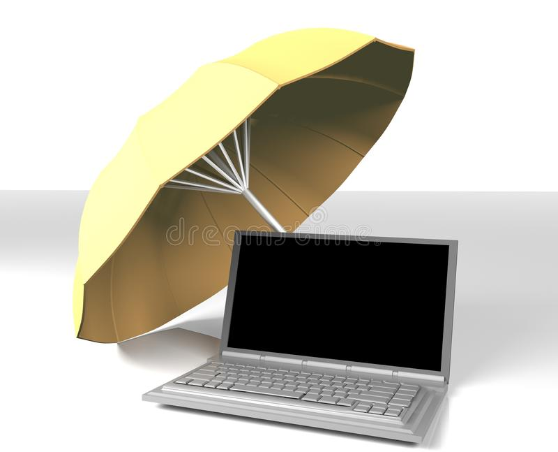 Notebook under yellow umbrella,3d, render vector illustration