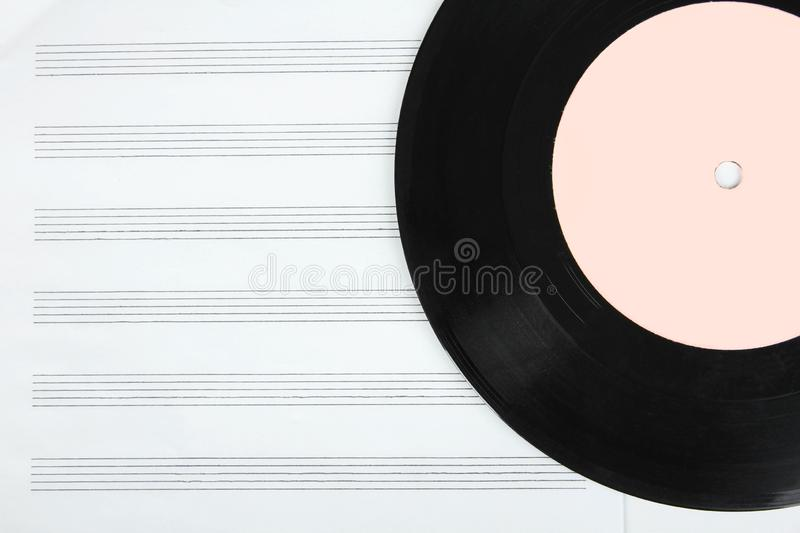 Notebook and vinyl record stock images