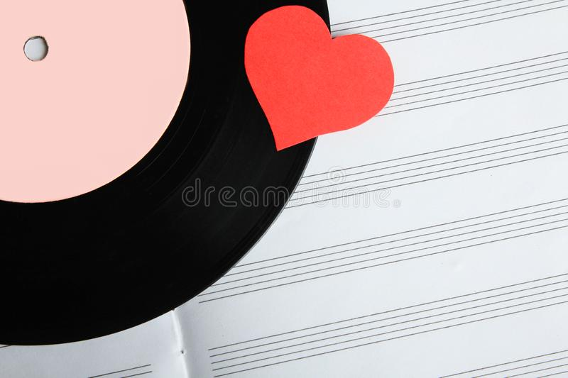 Notebook and vinyl record royalty free stock image