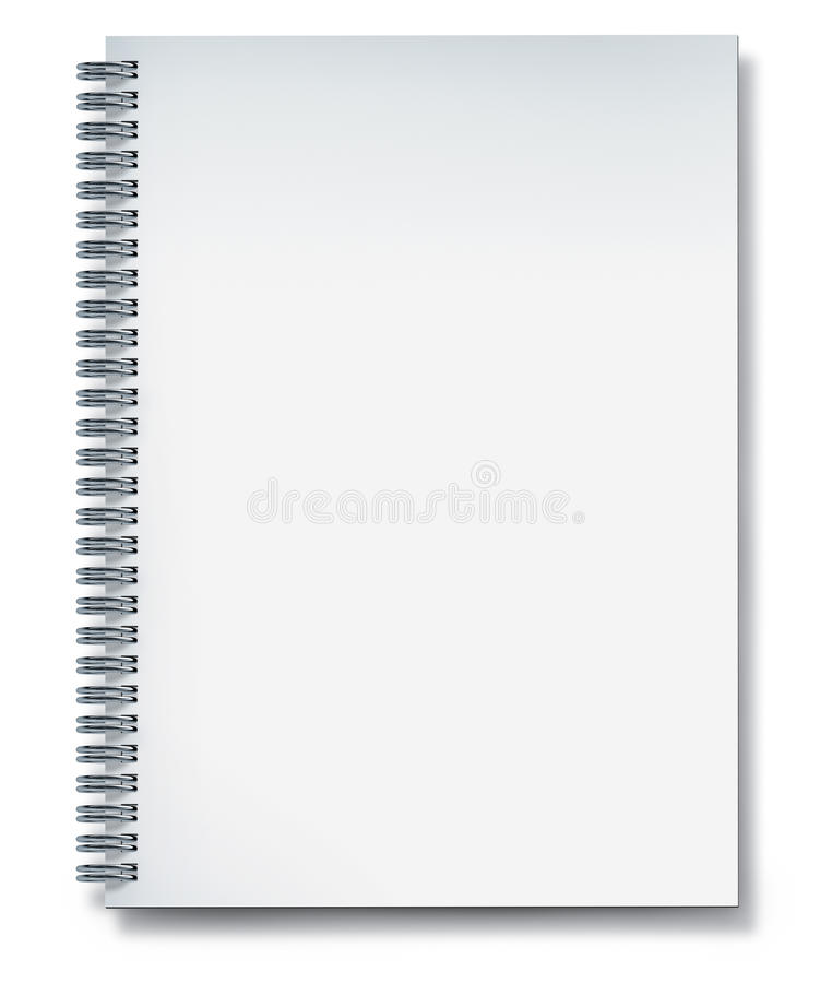 Notebook white blank. Notebook with blank page and metal wire isolated on white royalty free illustration