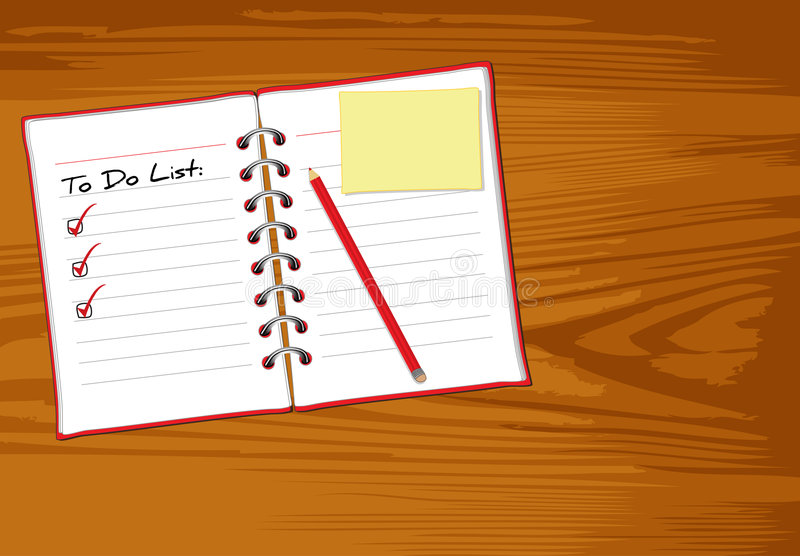 Notebook wood royalty free illustration
