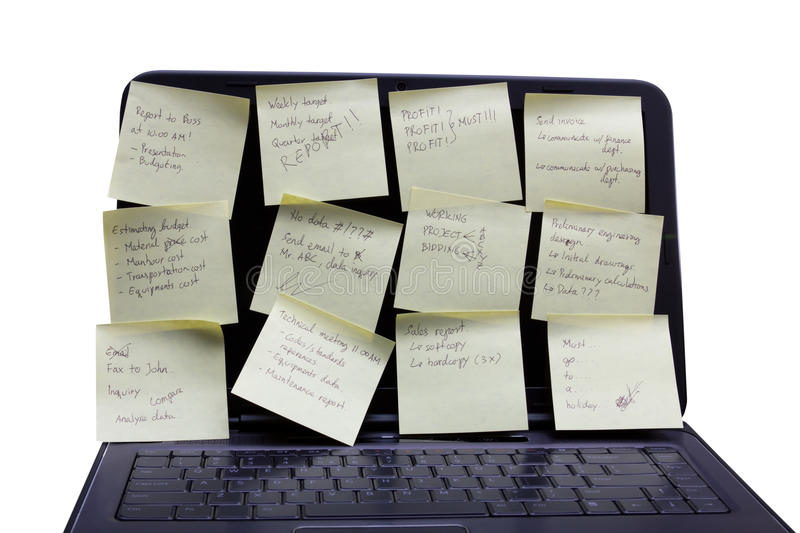 A notebook with written post-it.