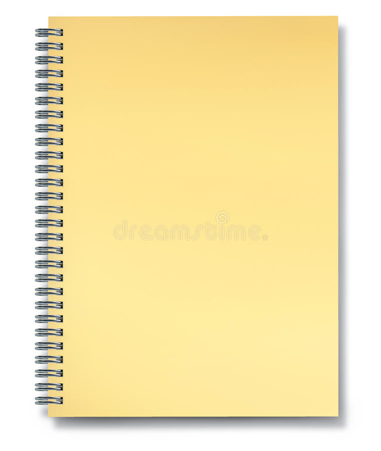 Notebook yellow paper blank. Notebook with blank yellow paper with metal wire isolated on white royalty free illustration