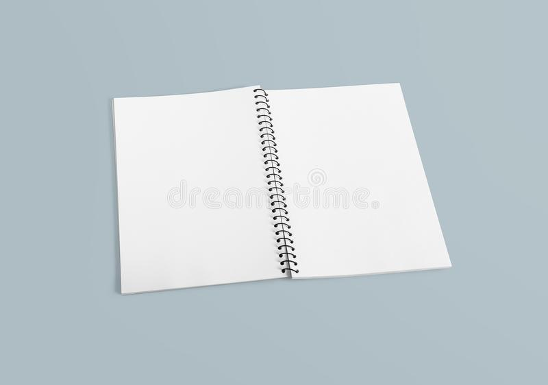 Notebook for your design, image, text or corporate identity details. Blank spiral binder notebook mock up. Top view. stock photography