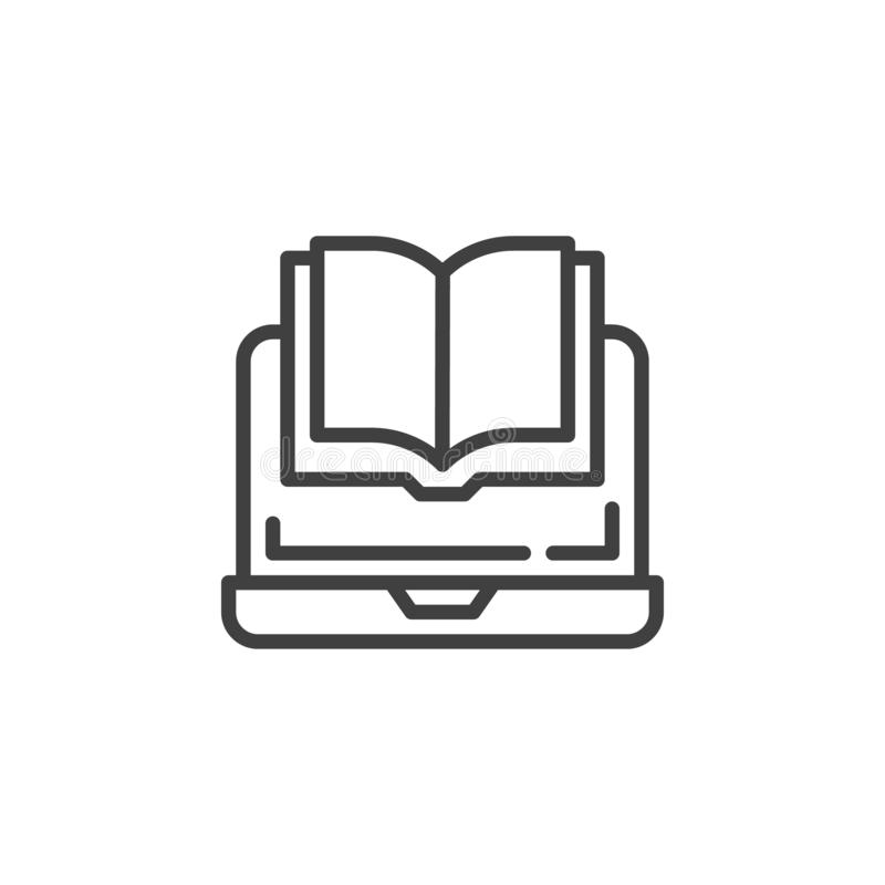 Notebook z ikoną linii e-booka royalty ilustracja