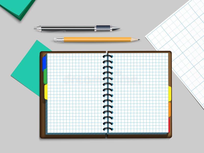 Notebooke, penna e matita illustrazione di stock