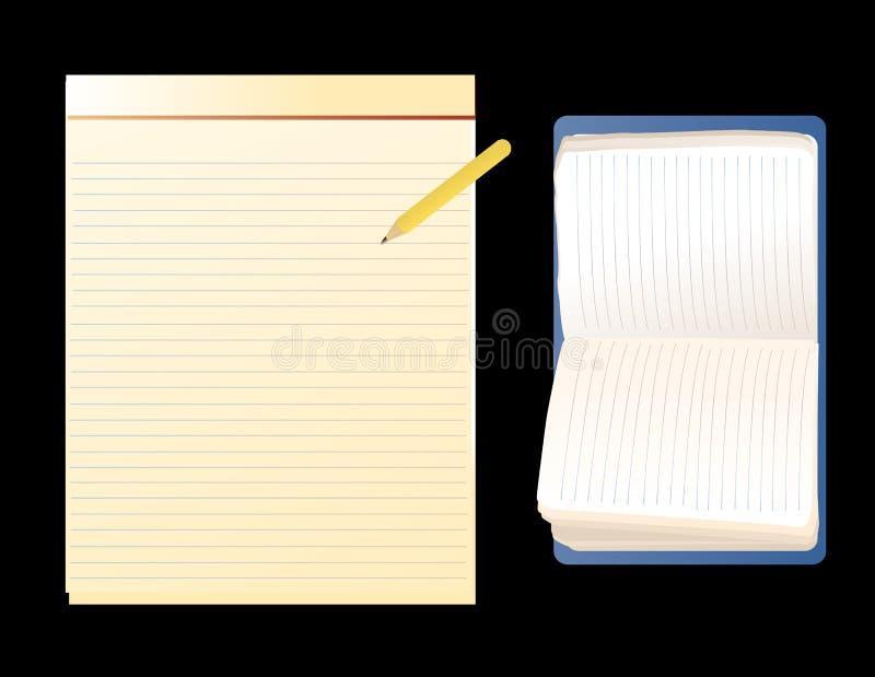 Notebooks. Vector illustration of common notebooks on a black background stock illustration