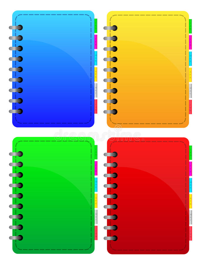 Notebooks Collection. Colorful Notebooks Collection isolated on white vector illustration