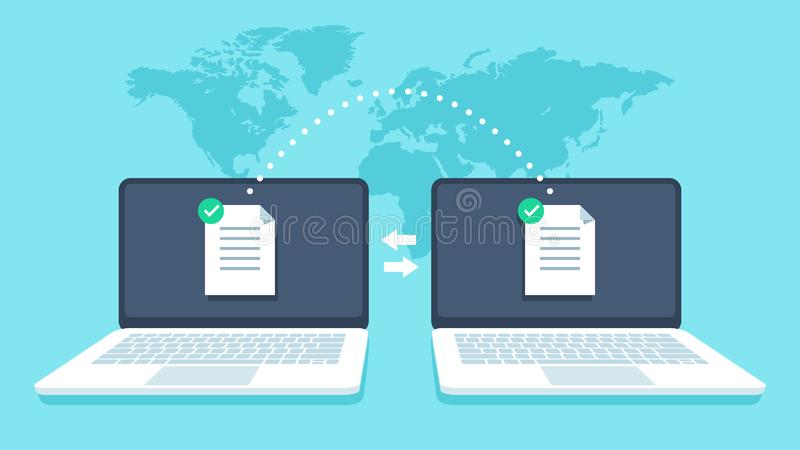 Notebooks file transfer. Data transmission, ftp files receiver and notebook computer backup copy. Document sharing vector illustration