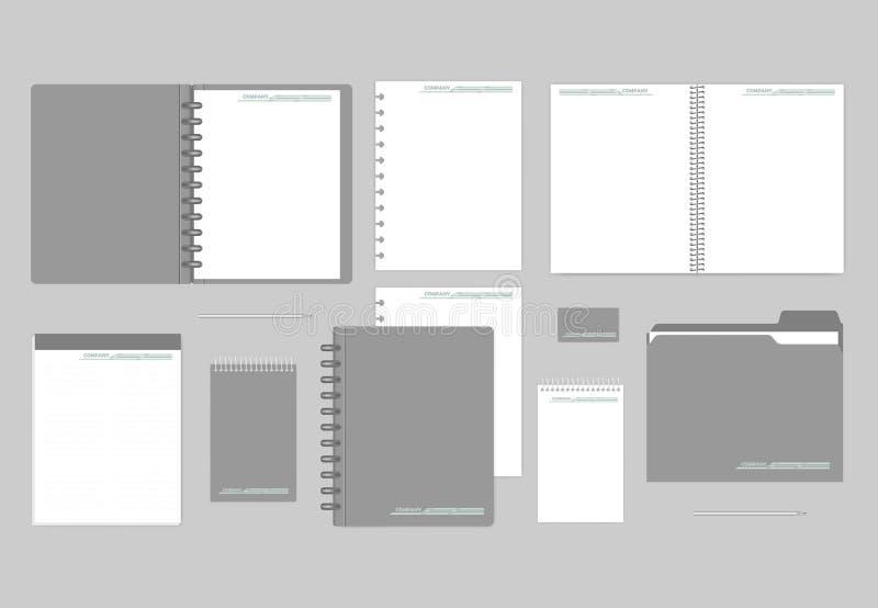 Notebooks, paper, folder, business card - corporate identity mockup set stock illustration