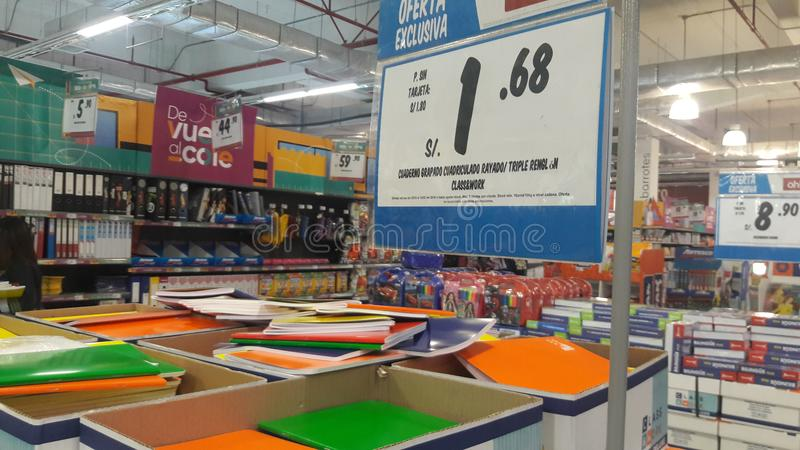 Notebooks and school material for sale in a store. Notebooks and school material for sale in a store in Cajamarca, Peru royalty free stock image