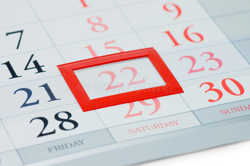 Noted Date On A Calendar Stock Photography