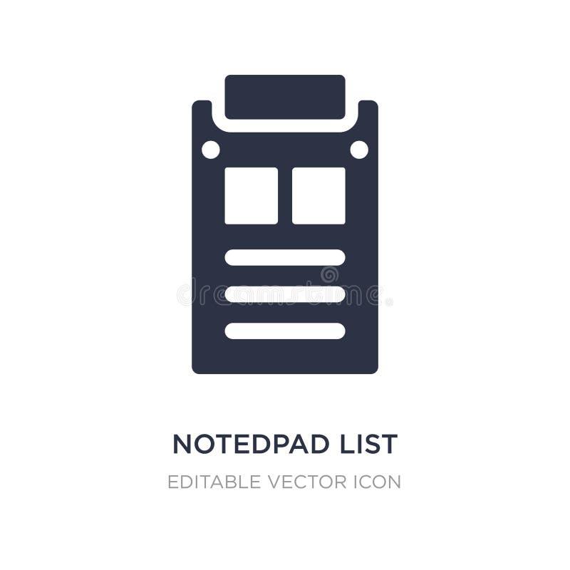 notedpad lijstpictogram op witte achtergrond Eenvoudige elementenillustratie van Algemeen concept vector illustratie