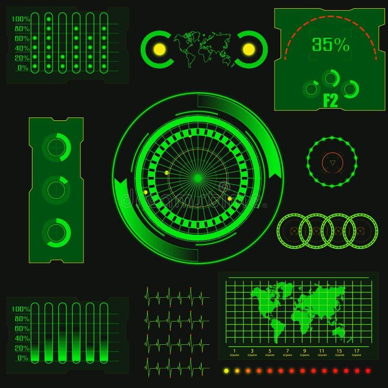 Noten-Benutzerschnittstelle HUD des abstrakten kreativen Konzeptvektors futuristische grüne virtuelle grafische Für Netz Standort lizenzfreie abbildung