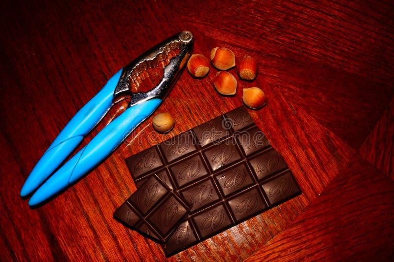 Noten en chocolade royalty-vrije stock foto's