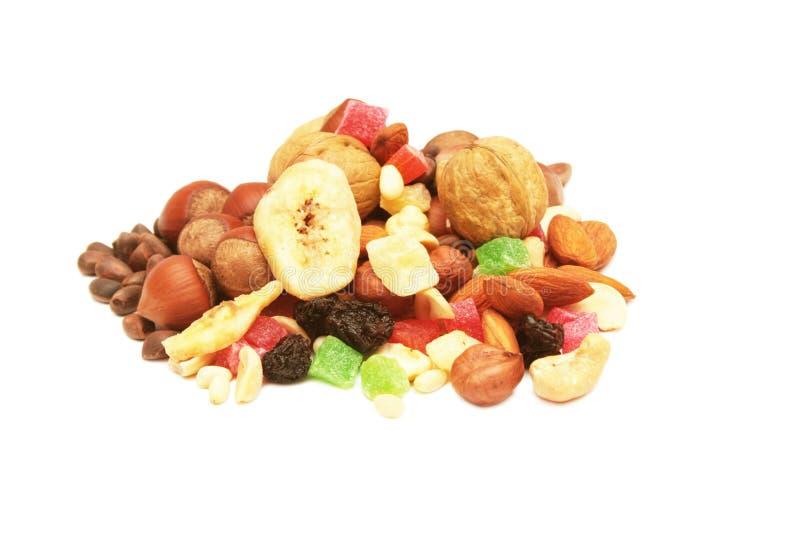 Noten en droge vruchten. stock afbeelding