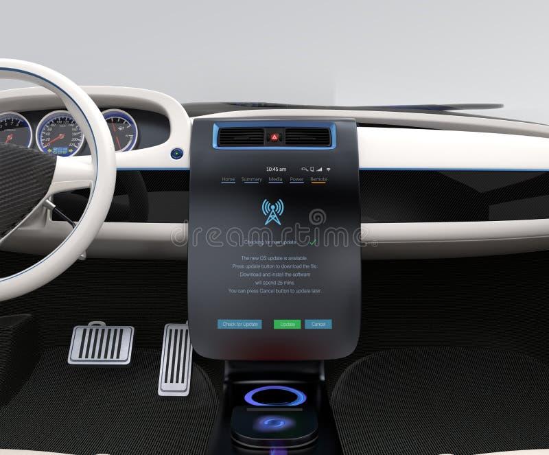 Notenauto-Mittelkonsole der Aktualisierungsfahrzeug-Software gerade stockbilder