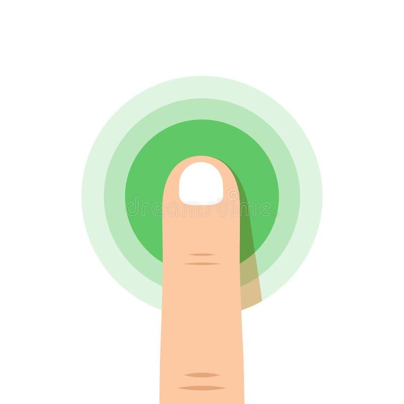 Notenikonenkonzept Note mit Fingerillustration Drücken Sie oder drücken Sie Zeichen Klopfen Sie die lokalisierte Ikone Fingerpres stock abbildung