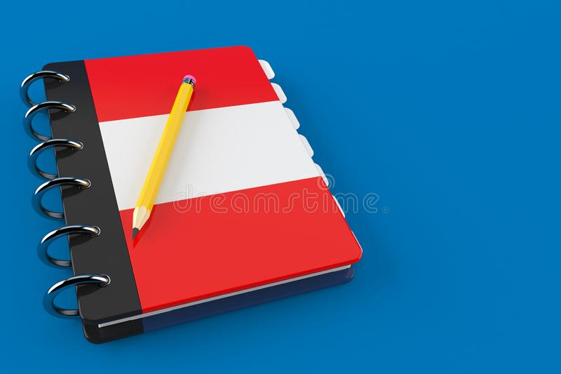 Notepad with austrian flag. Isolated on blue background. 3d illustration royalty free illustration
