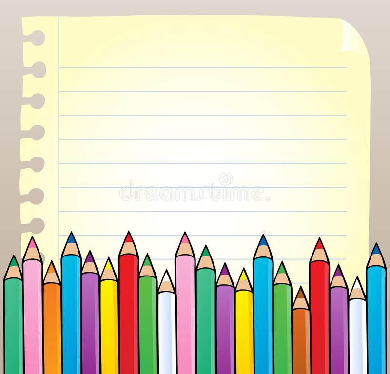 Notepad Blank Page With Crayons Royalty Free Stock Photos