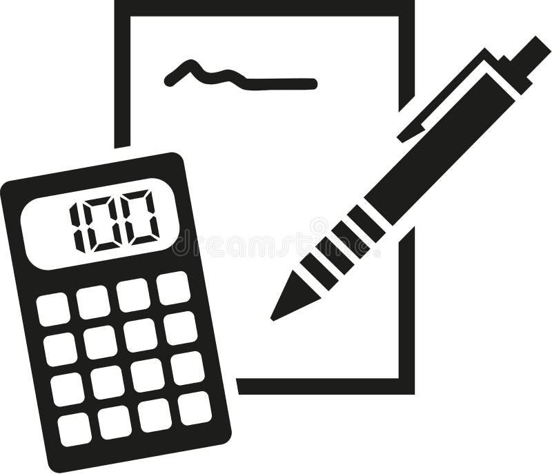 Notepad-, blyertspenna- och räknemaskinsymbol vektor illustrationer
