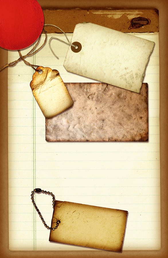 Notepad Collage. A vintage paper collage with various elements stock image